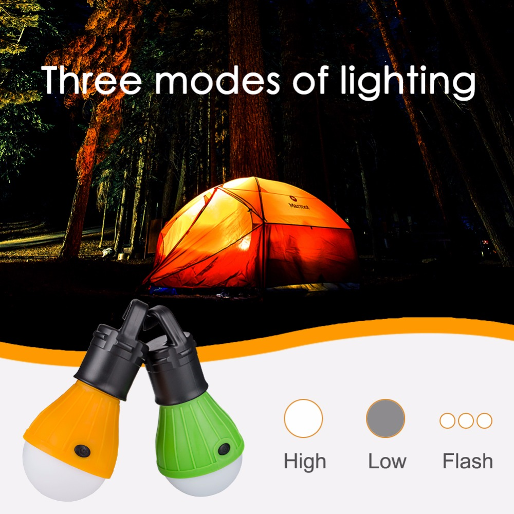 Portable Lanterns Outdoor Hanging LED Torch Lights Bulb Lamp Night Lights For Camping Tent Powered By 3*AAA Batteries
