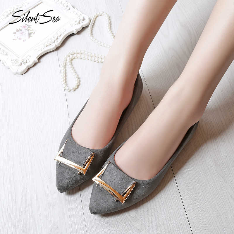 Silentsea 2019 New Arrival Casual Womens Shoes Women Flock Loafers Shoes Fashion Slip On Women Flats Shoes Grey Blue Black Color