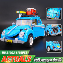 2016 LEPIN 21003 Creator Series City Car Volkswagen Beetle model Building Blocks Compatible legeo Blue Technic Car Toy 05007