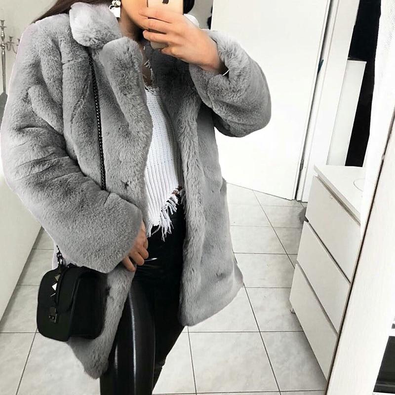 En Fourrure Shaggy Chaud Femmes Fausse Élégant pink Peluche Partie Outwear Manteau Hiver Tendance brown Grey Moyen Long 2018 Femme EYI8x