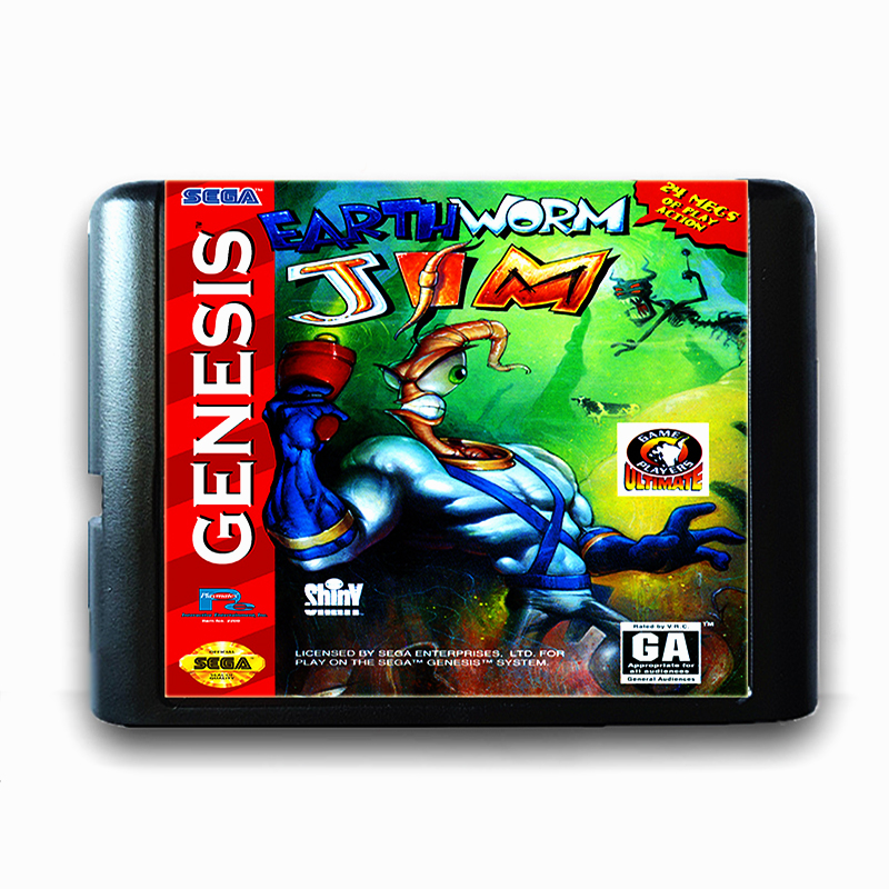 Earth Worm Jim 16 bit Sega MD Game Card for Mega Drive for Genesis Game Console