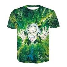 ZOGAA 2019 Summer New Green Albert Einstein 3D Short Sleeved Semi-Sleeved Shirt T Funny great scientist Tee