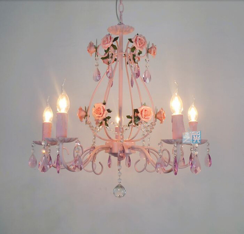 Best Selling Products Home Decor Bedroom Cheap Ceramic: Popular Pink Rose Chandelier-Buy Cheap Pink Rose