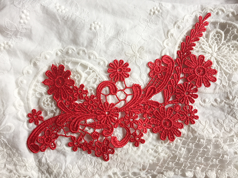 2Pieces 21X11cm Off White Red Lace Accessories French Style Lace Applique Chantilly Fabric For Wedding Dress in Lace from Home Garden