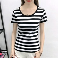 2016 Summer Black And White Horizontal Stripe Short Sleeve T Shirt Women S 100 Cotton Clothes