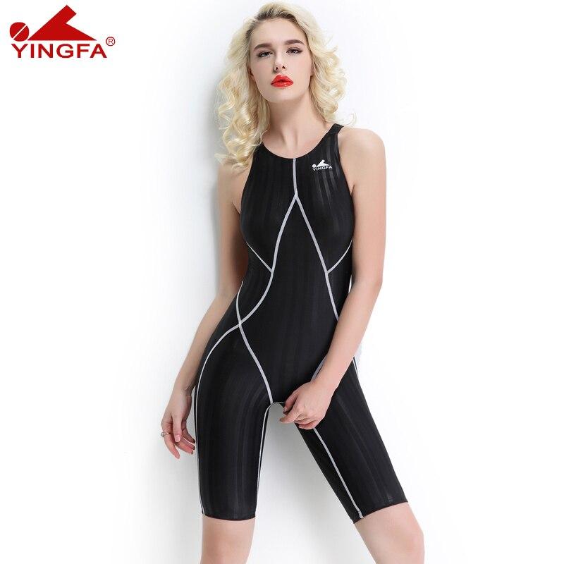 YINGFA FINA approuvé maillots de bain une pièce compétitif longueur au genou imperméable résistant au chlore femmes maillots de bain maillot de bain sharkskin