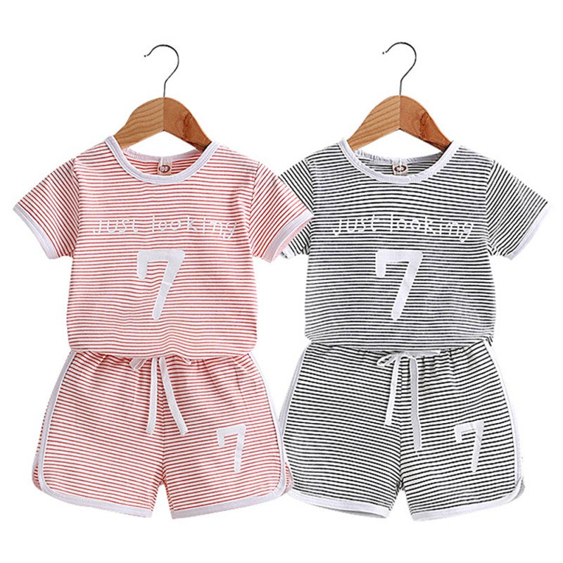 NEW Baby Boys Girls Clothes Striped Cute Cotton Baby Clothing Set Short + Pant 2pcs Summer Spring Suit Little Girl Clothing Se