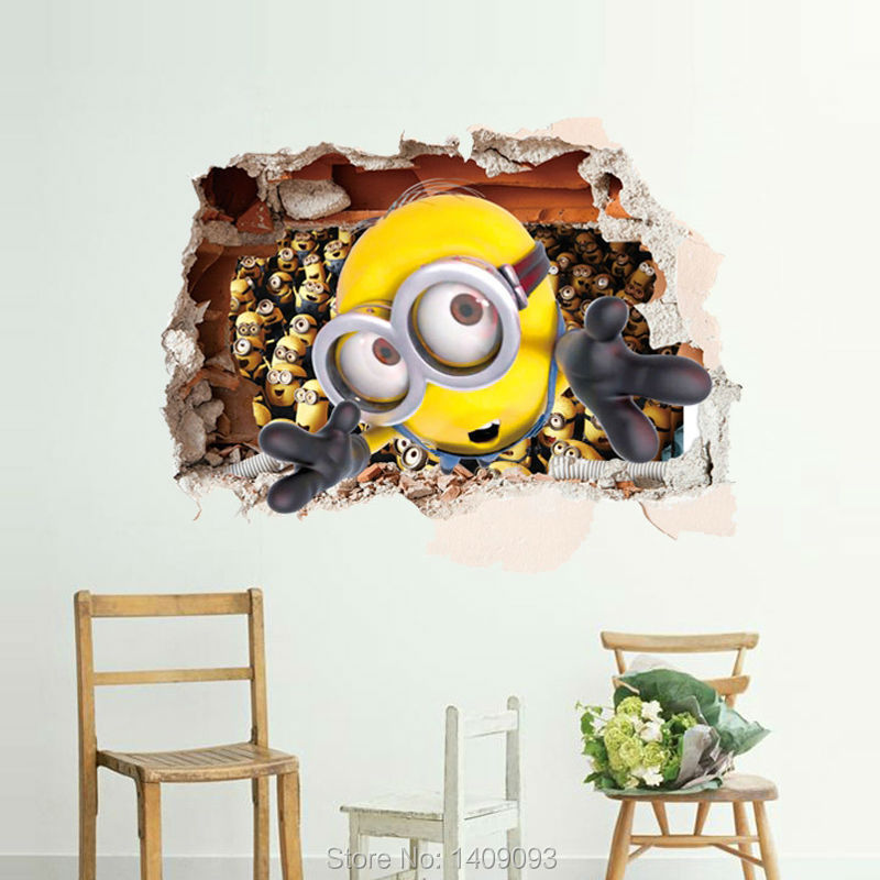 Removable large 3d minions wall decal 2016 wall sticker for 3d garden decoration