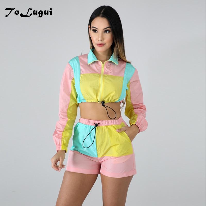 >ToLugui 2 Two Piece Set Summer Women's Long Sleeve Sports Patchwork Crop Top +<font><b>Biker</b></font> <font><b>Shorts</b></font> <font><b>Outfits</b></font> Tracksuit Matching Sets
