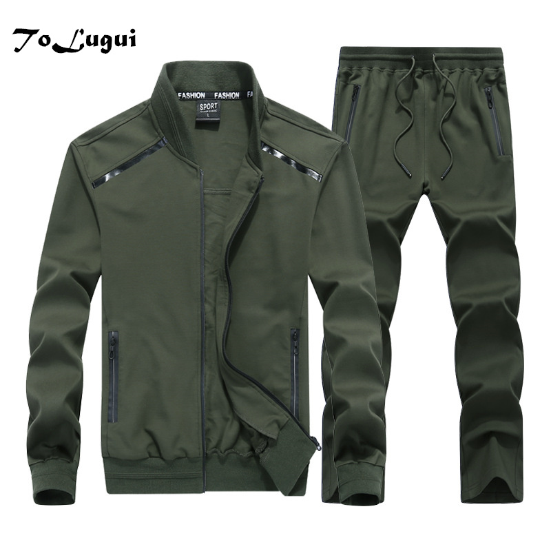 2019 Spring Autumn Men's Clothing Sets Causal Sporting Suit Long Sleeve Jacket + Pants Fashion Tracksuit Mens 6XL 7XL 8XL 9XL