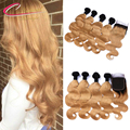 1B 27 Ombre Blonde Virgin Hair With Lace Closure Brazilian Human Hair Bundles With Closure Body Wave Dark Rooted Honey Blonde