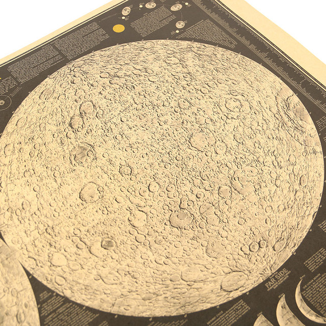 Large Kraft Poster Earth's Moon Map