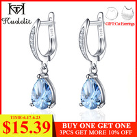 Kuololit Pure 925 Sterling Silver Clip Earrings For Women 3.3ct Natural Blue Topaz Gemstone Jewelry Wedding Party Christmas Gift