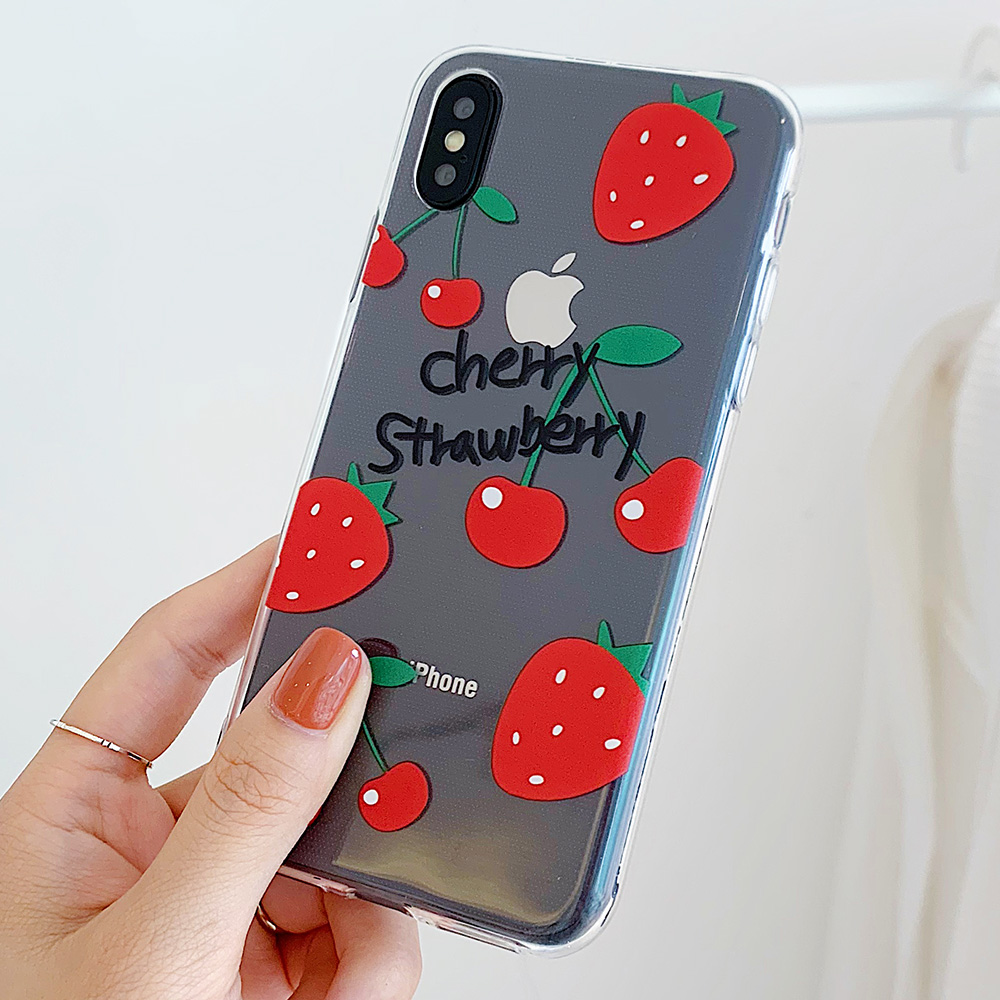 KIPX1106A_2_JONSNOW Clear Soft Case For iPhone 6S 7 8 Plus X XR XS Max Delicious Fruit Pattern Ultra-thin Transparent Silicone Back Cover