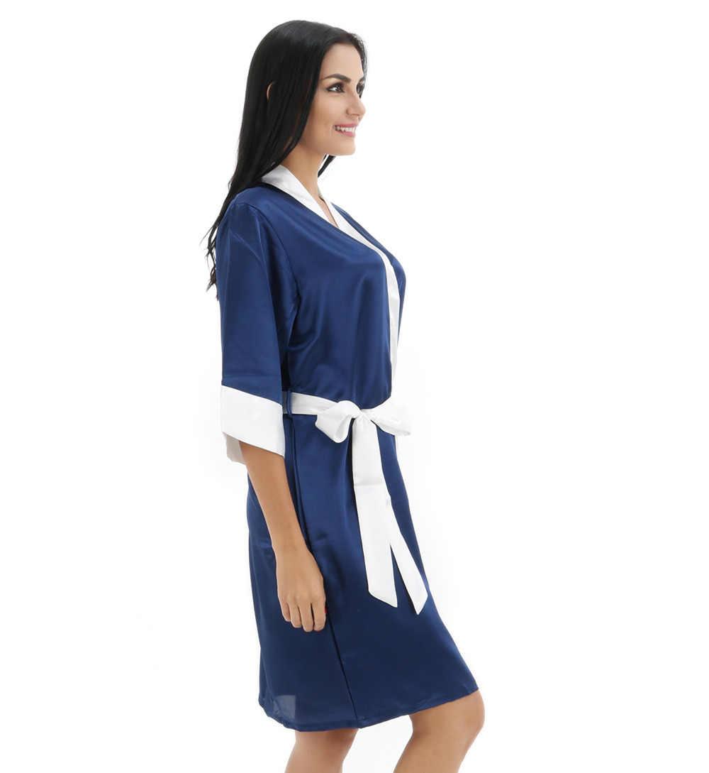 Темно-синий женский халат Горячая Распродажа кимоно из искусственного шелка банное платье женская сексуальная пижама-халат Mujer Pijama Размер S M L XL XXL bdt03