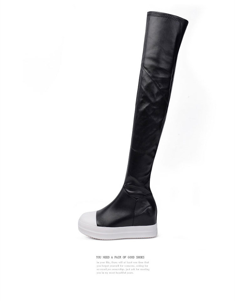 Gullick Black and White Mixed Color Over the knee Sport Boots Women Winter Boots Low Heel Warm Round Toe High Quality Shoes