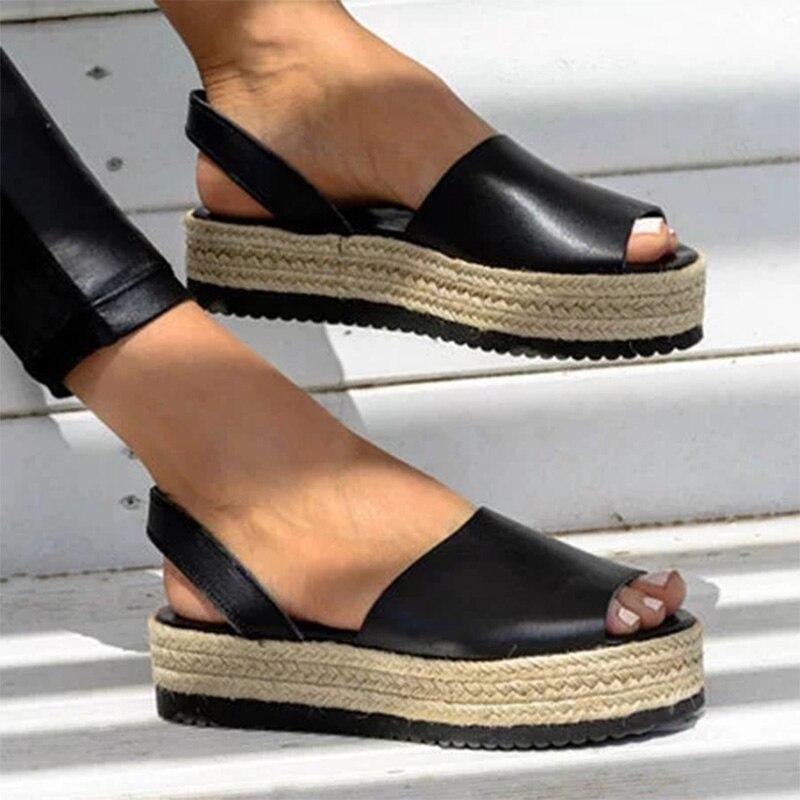 Weweya Wedges Shoes Platform Sandals Open-Toe High-Heels Epadrilles Women Buckle New