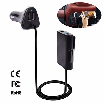 Car Front And Back Seat Charger With 6ft Cable 48W 9.6A 4 USB Charging Ports Intelligent Car Charger For Cell Phones Ipad Laptop