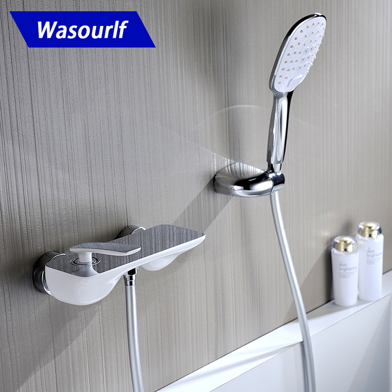 WASOURLF brass Bath shower mixer faucet tap set hand hold shower bracket shower hose chrome and white design hot cold sognare new wall mounted bathroom bath shower faucet with handheld shower head chrome finish shower faucet set mixer tap d5205