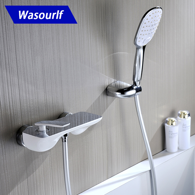 WASOURLF brass Bath shower mixer faucet tap set hand hold shower bracket shower hose chrome and white design hot cold