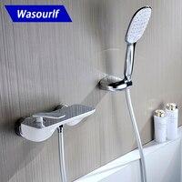 Wasourlf латунь Для ванной смеситель для душа кран Набор ручной душ провести кронштейн шланг для душа хром и белый дизайн горячая холодная