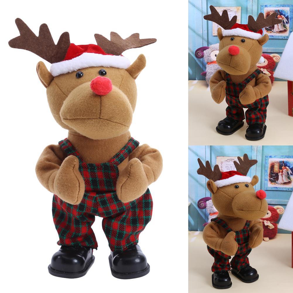Baby Toys The Christmas Electric Toy Battery Packs Christmas Deer Coth Dolls For Childre ...