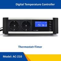 New AC 210 0 50C ON OFF Reptile Thermostat with Timer AU EU UK US Plug Socket Sensor Regulator Pet Temperature Controller