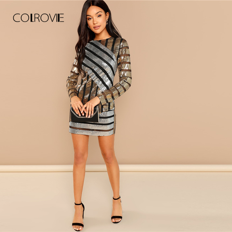 COLROVIE Striped Embroidery Textured Sequin Sexy Dress Women 2018 Autumn  Long Sleeve Party Dress Streetwear Elegant Mini Dresses-in Dresses from  Women s ... 3430e39f40d5