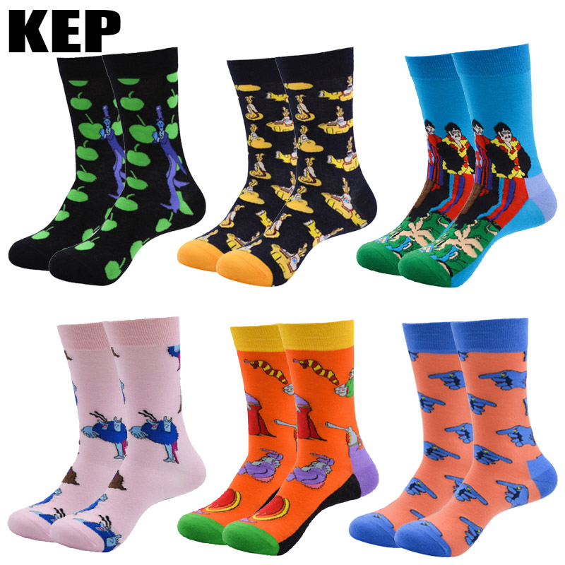 KEP Trend Fashion Funny Colorful Combed Cotton Socks Cartoon Vivid Plot Pattern Happy Harajuku Cartoon Socks Men Rave Party Gift