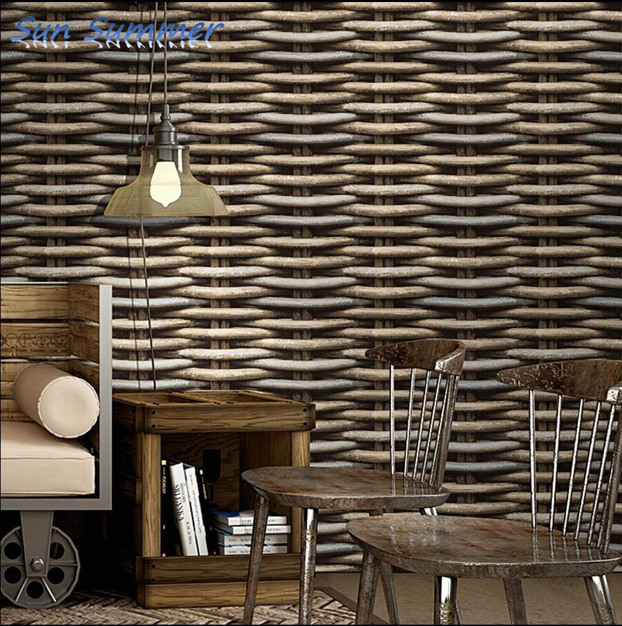 Chinese style vintage straw braid rattan stripe wallpaper bamboo tv background wall 3d wallpaper