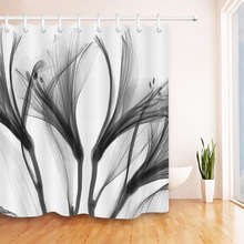 Abstract Black X-ray Blossom Transparent Flower Nature White Shower Curtain Art Waterproof Bathroom Fabric for Bathtub Decor