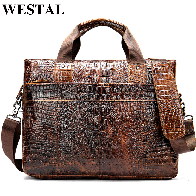 WESTAL bag for men's briefcase genuine leather office satchel bag men's crocodile pattern portable tote for document bags 5555
