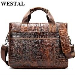WESTAL tasche für männer aktentasche aus echtem leder büro satchel tasche männer der krokodil muster tragbare tote für dokument taschen 5555