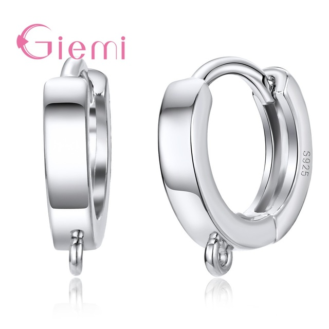 US $1 24 38% OFF|GIEMI Factory Price Best Quality One Pairs Real 925  Sterling Silver Stamped Round Hoop Handmade Women Earrings Accessory-in  Jewelry