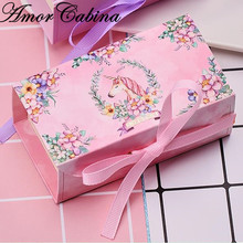 Cartoon Unicorn Party Candy box Paper Chocolate Cake Box Cookie Candy Nuts gift Box DIY Wedding Gift Packing Box with ribbon 10pcs lot cake candy hand strap butterfly decorative gifts paper foldable box for apple candy cookie party gifts packing box