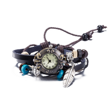 Bayan bileklik Leather Bracelet Watch Vintage feather Watch Women Dress Watches Unisex Charm multilayer Bracelet for Women
