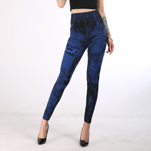 Image 5 - 女性ハイウエストレギンスファッションプッシュアップジーンズ鉛筆パンツ薄型セクシーな偽デニムデニムファム服ドロップシップ