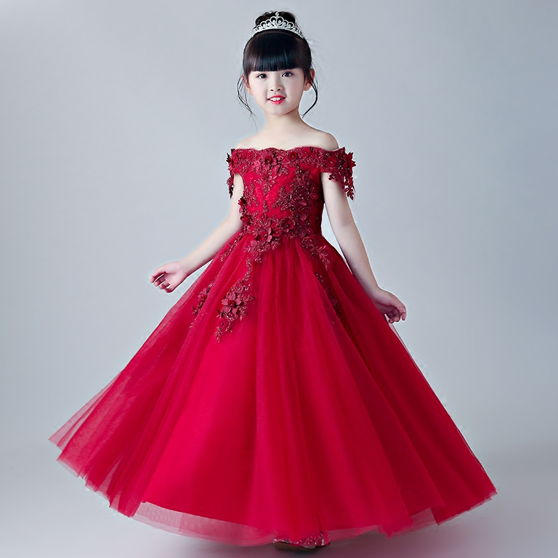 Glizt Red Tulle Appliques Girl Summer Dresses First Communion Dresses Party Princess Ball Gown Flower Girl Dresses for Weddings cute long sleeve ankle length girl dresses for weddings and party summer 2017 exquisite bowknot girl o neck princess dresses p25