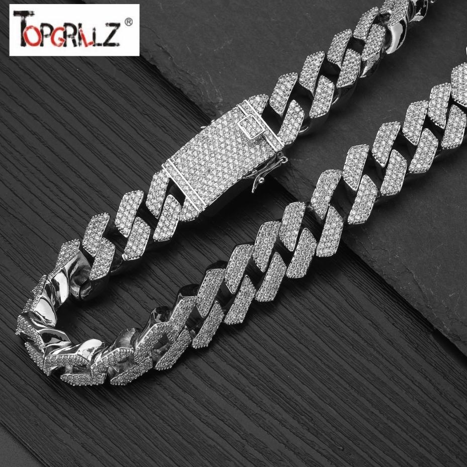 20mm plein glacé sur les chaînes cubaines lourdes collier Prong réglage collier hommes or argent Hip Hop Bling CZ rappeur collier bijoux