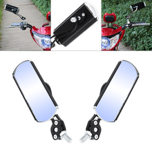 2pcs Black Double Aluminum Motorcycle Rearview Mirror Steering Wheel Side  for Universal hot