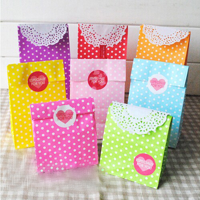 8pcs Colorful Polka Dots Paper Bags 18x9.5x6cm Party Favor Stand Up Bag, Open Top Treat Bag Paper Gift Bag