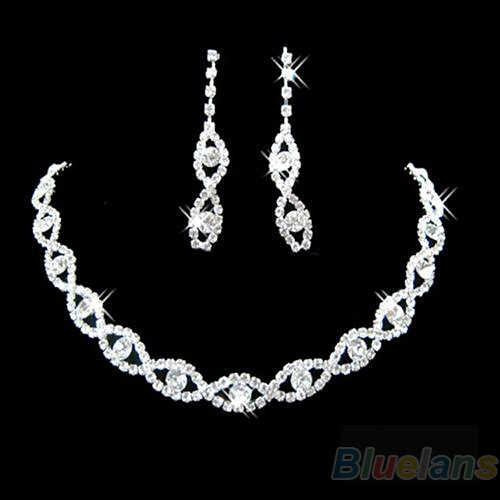 Sumptuous Bridal Wedding Prom Jewelry Crystal Rhinestone Diamante Necklace & Earring Set 7DZO