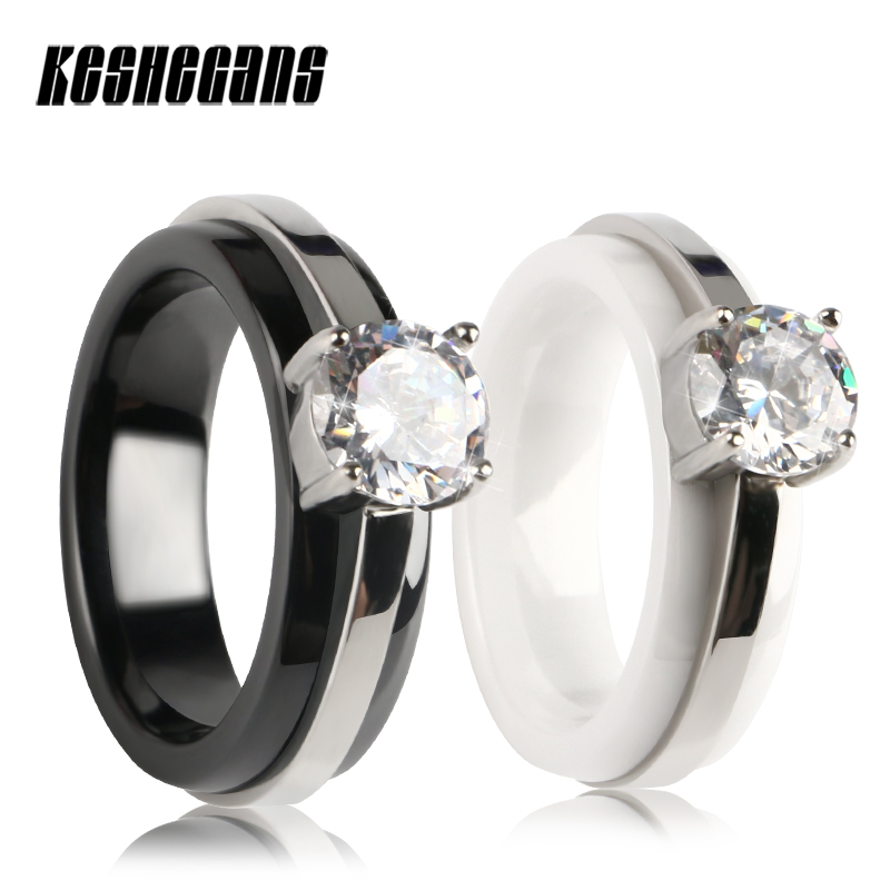 Big Round Crystal Rhinestone Ceramic Ring Shining Beautiful Women Fashion Jewelry Silver Stainless Steel Black White Color Rings