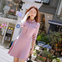 Dabuwawa Pink Autumn Dress Women 2018 New Tie Lovely Charming Office lady Mini Dress Letter Embroidery Korean Shool Date Dress