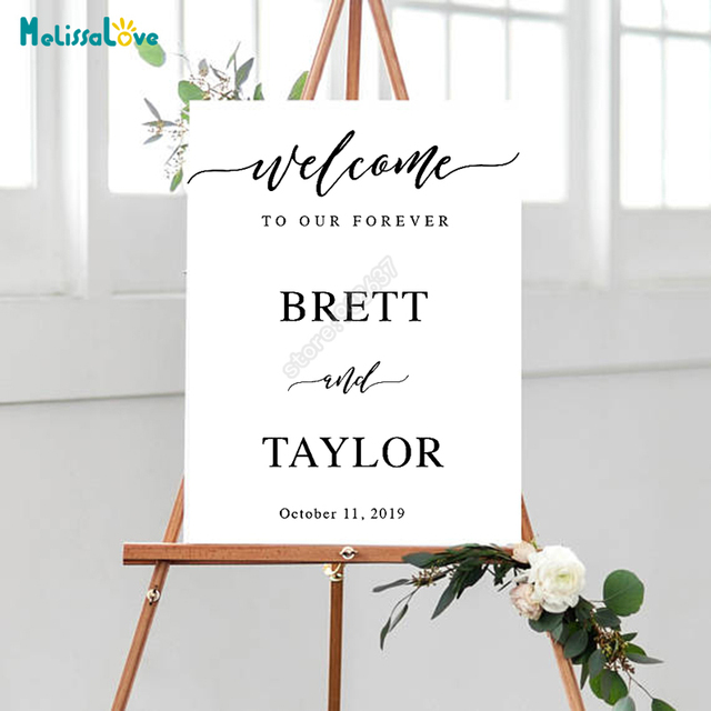 Diy Wedding Board Sticker Custom Name And Date Welcome To Our