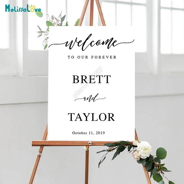 DIY Wedding Board Sticker Custom Name And Date Welcome To Our Forever  Personalized Reception Sign Decoration a80a8b4aef1