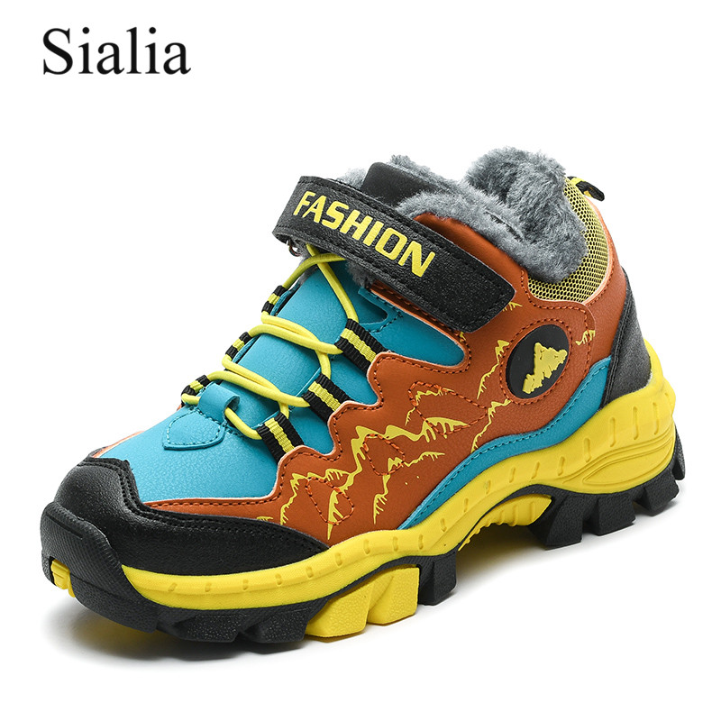 Sialia Hiking Shoes For Children Sneakers Boys Shoes Girls Sneakers Winter Boots Plush Warm Outdoor Footwear Anti-slippery 2019