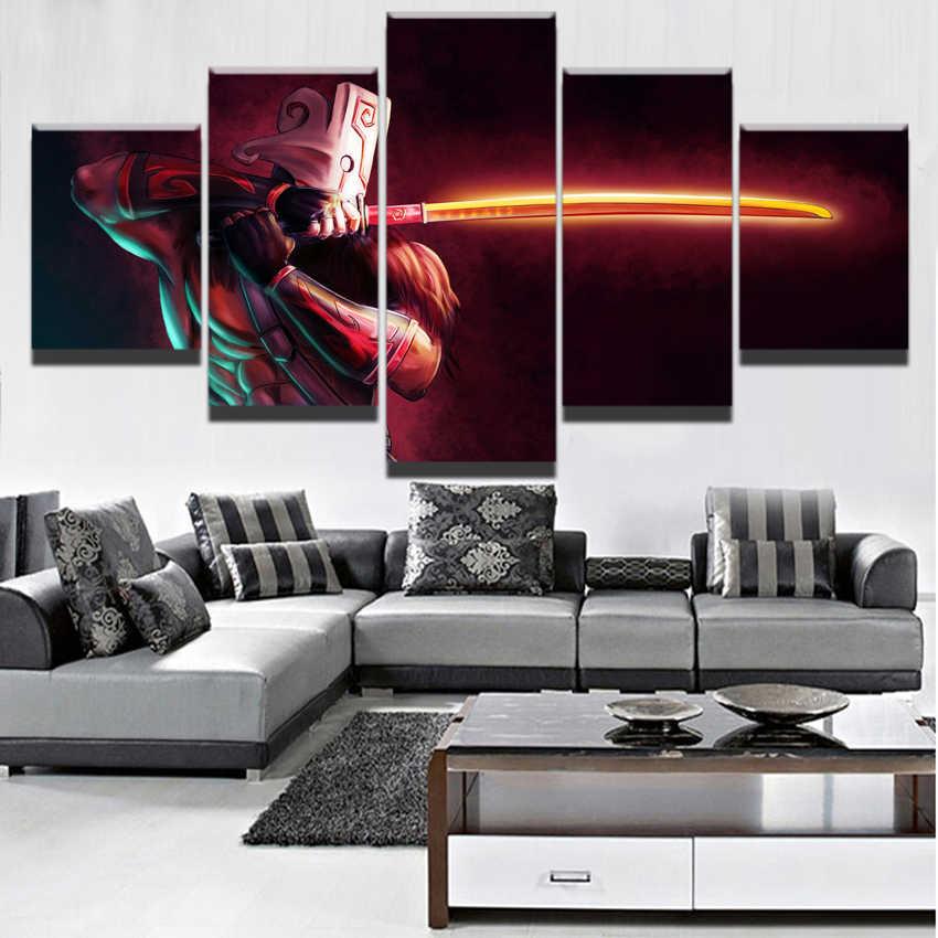 Современная Картина на холсте модульная игра плакат 5 шт. 2 DotA Juggernaut Настенный декор домашний декор для мальчиков комната печатная картина произведение искусства