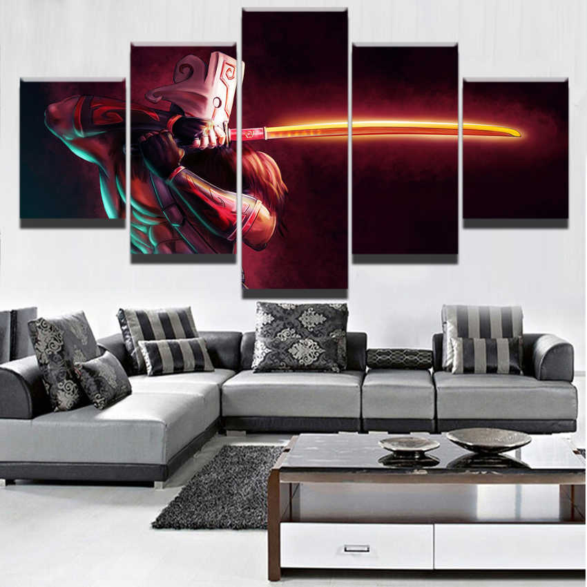 Modern Canvas Painting Modular Game Poster 5 Pieces 2 DotA Juggernaut Wall Art Home Decor Boys Room Printed Picture Artwork