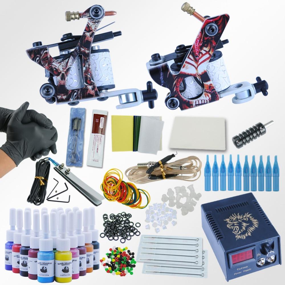 Professionnel De Tatouage Kit De Tatouage alimentation Grips Aiguilles Conseils Fournitures De Tatouage Kit 2 Mitrailleuses 20 Encres/Set Pour Débutant